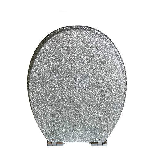 Längliche Wc sitze, Langsam schließen Toilettensitze Heavy-duty Und Antimikrobielle Aus harz, Starke scharniere-Silber (Längliche Holz-wc-sitz Schwarz)