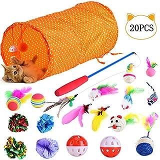 Queta Katzenspielzeug Set mit Katzentunne, 20 Stück Katzen Spielzeug Einschließlich Spielzeugmäuse, Spielzeugbälle und Glocken für Kitty
