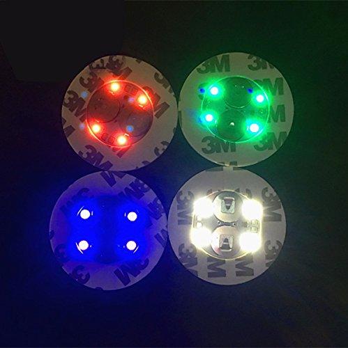 4-Mini-Flaschenbeleuchtungen, Aufkleber, Untersetzer, in 4 Farben.