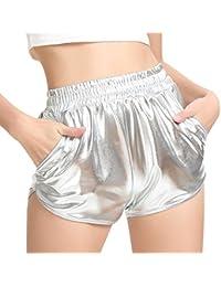 SHOBDW Mujeres de Moda elásticos de Cintura Alta Yoga Pantalones Deportivos  Sexy Pantalones Cortos Delgados Brillantes 934f84db4f8c