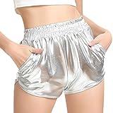 SHOBDW Mujeres de Moda elásticos de Cintura Alta Yoga Pantalones Deportivos Sexy Pantalones Cortos Delgados Brillantes Pantalones metálicos Polainas (M, Plata)