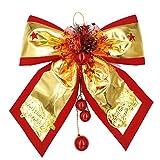 OULII Weihnachten Gold Bowknot mit Glocken hängenden Bögen Anhänger Weihnachtsbaum Yard Party Dekoration 50cm