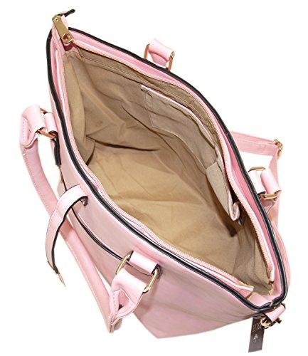Damen Handtasche Shopper mit zusätzlichem verlängerbaren Henkel Henkeltasche Schultertasche Tasche Umhängetasche Bag DH0004 (Braun - 1723) Rosa - 1724