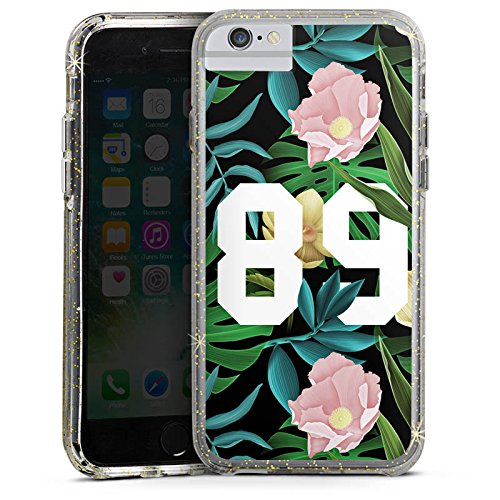 Apple iPhone 6s Bumper Hülle Bumper Case Glitzer Hülle College 89 Flowers Bumper Case Glitzer gold