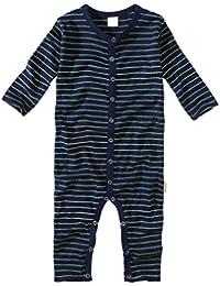 wellyou, Schlafanzug, Pyjama für Jungen und Mädchen, Einteiler langarm, Baby Kinder, marine neon-gelb gestreift, geringelt, Feinripp 100% Baumwolle, Größe 56-134