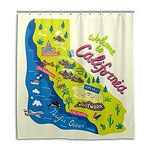 Mi Diario Bienvenido a California Cartoon mapa cortina de ducha 66x 72inch, resistente al moho y poliéster resistente al agua–cortina de baño