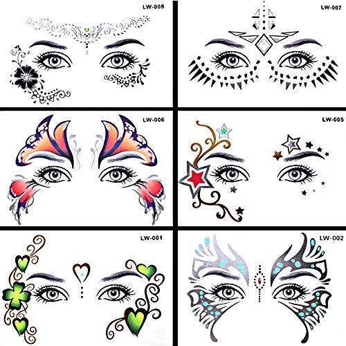 Pinkiou Gesicht Sticker Metallic Gesichts Augenbrauen Tattoo Aufkleber für Mädchen