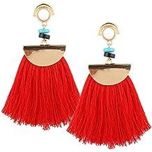 setmei moda Vintage mujeres Boho Bohemio Pendientes Largo borlas pendientes colgantes