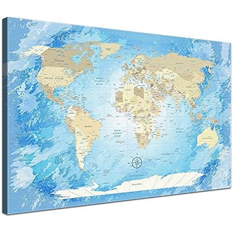 LanaKK - Lienzo impreso artístico diseño de mapamundi (en bastidor 120 x 80 cm enmarcado con corcho en parte posterior 1