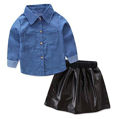 SCFEL Kinder Baby Mädchen Lange Ärmel Denim Shirt Tops + Leder Kurzer Rock 2 Stück Outfits (6-7 Jahre, blau & schwarz) (Leder Denim, Rock)