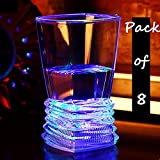 Ollny Pack of 8 Colorful LED Flashing Light Up Glowing ABS Cups Glasses Wineglass Beer Cola Juice for Bar Club Party Festival