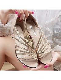 920f03d1a33909 UH Damen Riemchen High Heels Sandalen mit Nieten und Schnallen Sommer  Stiletto Schuhe - cobrayacht.de