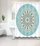 LB Türkis-ethnische Mandala Duschvorhang,Wasserdichtes Mildewproof Polyester Badvorhänge für Badezimmer,180 * 180cm mit 12 Ringen
