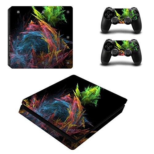PS4 Slim Adesivo Della Pelle,Wondder Adesivo Protettivo Adesivo in Vinile per Console PS4 Slim + 2 Skin per Controller + 2 x Manopole in Silicone (Colore 6)