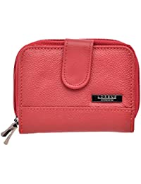 Ladies Small Leather Purse wih 2 Zipped Compartments (Black, Tan, Red, Dark Brown, Beige)