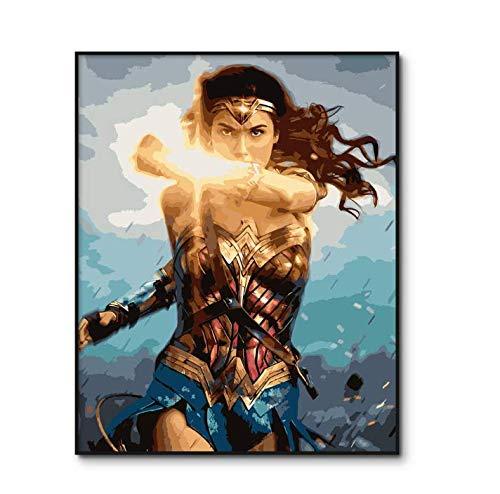 YuHanWei Malen Nach Zahlen Erwachsene Diana Prince DIY Ölgemälde Nach Zahlen Kits Auf Leinwand Wonder Woman Digital Painting Home Decor