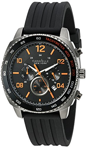 Caravelle New York Mens Analogue Quartz Watch with Silicone Strap 45B141