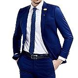 O.D.W Anzug Sakko Herren Hose Zweiteiliger Slim Fit Herrenanzug Glanzanzug für Hochzeitsanzug Business (Blau,48)