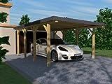 Carport aus Leimholz HUNSRÜCK I 340x600 cm, mit Schieferblende, Dacheindeckung