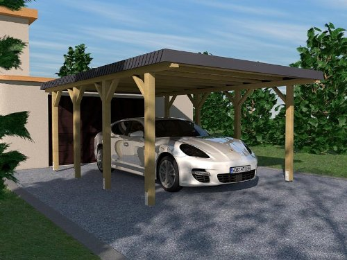 Carport in legno lamellare rhein-hunsrück-kreis i 340x 600cm, con mascherina, copertura del tetto in ardesia