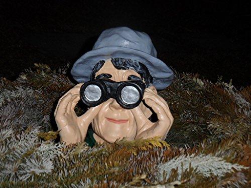 Arbrikadrex Skulptur Garten Jäger Fernglas Gartenfigur Deko Beobachter Figur Spanner Spion -