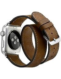 Correas Para Apple Watch EloBeth Cuero de la alta calidad Replacement Correa De Reloj Pulsera Watch Band De Reloj Replacement Strap watchband para Apple iWatch Reloj (marrón/Brown 38mm)