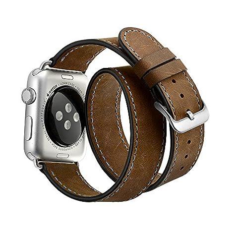 Elobeth Apple Watch 42mm Lederarmband Ersatzband