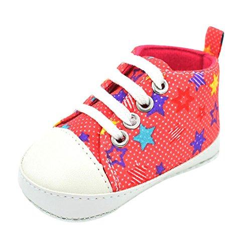 Babyschuhe Longra Baby Mädchen Stern-Druck Turnschuh Anti-Rutsch Sneaker Espadrilles weiche alleinige Kleinkind Segeltuch Krabbelschuhe (0 ~ 18 Monate) Hot Pink