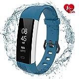 fitpolo Smartwatch Damen Fitness Armband mit Pulsmesser Wasserdicht IP67, Aktivitätstracker Fitness Uhr Smartwatch, Pulsuhren, Schrittzähler Uhr, für Damen Herren(Blau)