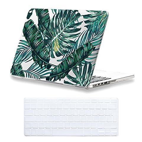 Coque MacBook Pro 13 Retina Case , iCasso Palm Leaf Pattern Brillante Plastique Ultra Slim étui Housse de Protection Hard Rigide Cover Shell Pour MacBook Pro 13 Pouces Retina (Modèle: A1425 / A1502)