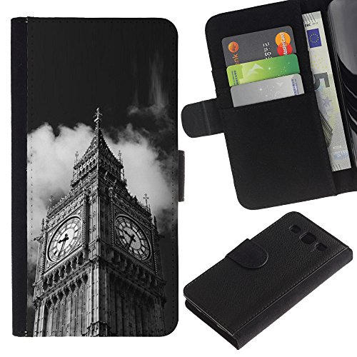 LeCase - Samsung Galaxy S3 III I9300 - Architecture Big Ben Close Up London - U Cuoio Custodia Portafoglio Snello caso copertura Shell armatura Case Cover Wallet Credit Card