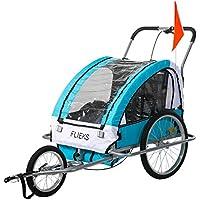 Flieks Kinderanhänger Fahrradanhänger mit Federung + Joggerfunktion + Sicherheitsgurt, 2in1 Anhänger für 1 bis 2 Kinder