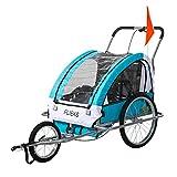 Flieks Kinderanhänger Fahrradanhänger mit Federung + Joggerfunktion + Sicherheitsgurt, 2in1 Anhänger für 1 bis 2 Kinder (Blau)