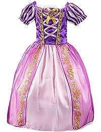 925bad22eac Eleasica Fille Robe de Princesse Raiponce Costume pour Enfants Manches  Courtes Bouffante Robe Longue Haute Qualité