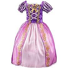 a6579457be4 Eleasica Fille Robe de Princesse Raiponce Costume pour Enfants Manches  Courtes Bouffante Robe Longue Haute Qualité