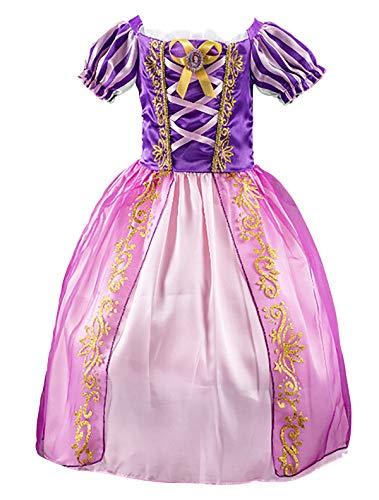 Eleasica Fille Robe de Princesse Raiponce Disney Costume pour Enfants Manches Courtes Bouffante Robe Longue Haute Qualité Déguisements Costume Violet Bleu Doux Cosplay Halloween Noël, Violet, 120 cm