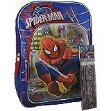 "Marvel Spiderman 3D Pop Out Boys' 16"" School Backpack W/ Bonus Spidy Stationery (Pencils Pack)"