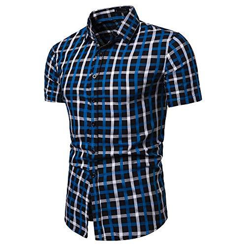 Doublehero Herren Hemd Kurzarm Slim Fit Kariert Gedruckt Regular fit T-Shirt Formelle Shirts Casual Tops für Anzug/Business/Hochzeit/Freizeit,Hemden Shirts für Männer Kurzhemden