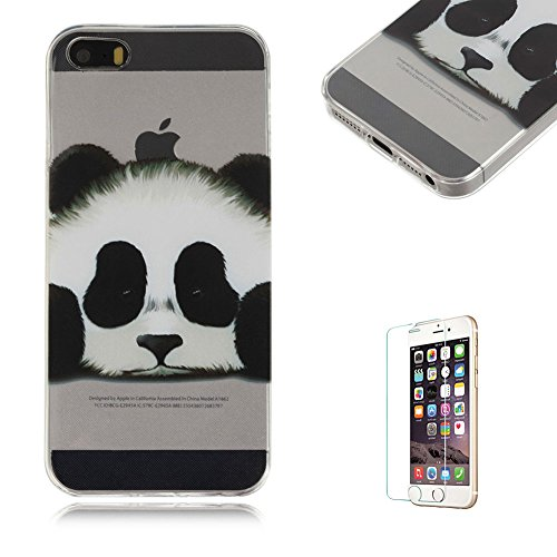 Price comparison product image For iPhone 5S iPhone SE Case 4inch Cover [with Free Screen Protector], Funyye Fashion lovely Lightweight Ultra Slim Anti Scratch Transparent Soft Gel Silicone TPU Bumper Protective Case Cover Shell for iPhone 5/5S/SE-Cute panda