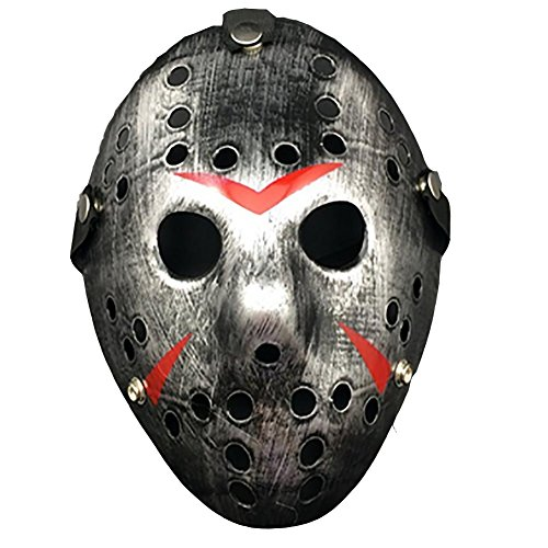 Vinawo Horror Hockeymaske für Halloween Jason Maske Vintage Design Jason Ice-Hockey Maske Halloween Maske Halloween Kostüm Friday the 13th (Kostüm Kinder Chucky Für Frau)