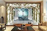 Yosot Große Fototapete Europäischen Stil 3D Roman Spalten Garten Rose Tv 3D Wohnzimmer Hintergrund Tapete Für Wände 3D-140Cmx100Cm