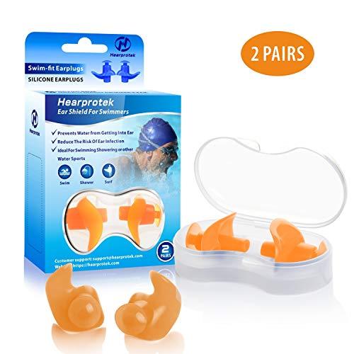 Hearprotek Ohrstöpsel Schwimmen Erwachsene, 2 Paar wasserdichte Wiederverwendbare Silikon Ohrstöpsel für Schwimmer beim Duschen beim Surfen und Anderen Wassersportarten (Orange)
