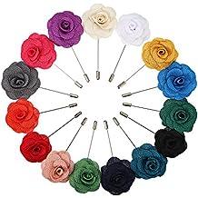 15 Pièces Boutonnière Revers pour Homme Épinglette Fleur Broches de Fleurs pour Suit de Mariage, 15 Couleurs
