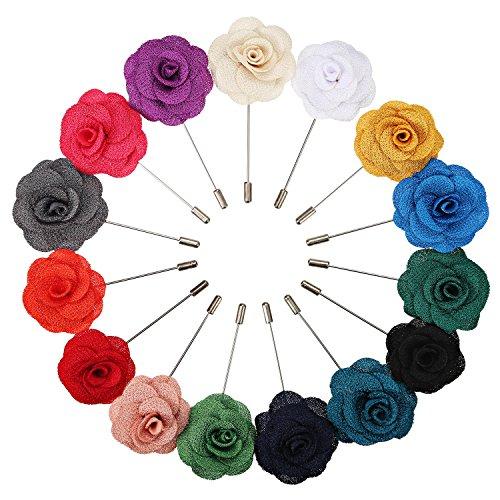 15 Stück Reversnadel der Männer Handgemachte Kamelie Blumen Boutonniere für Anzug Hochzeit Bräutigam, 15 Farben (Blumen-anzug 2 Stück)