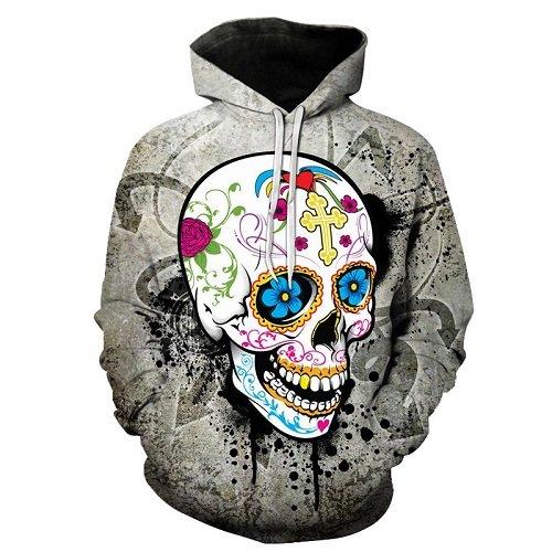 Blume Totenkopf 3d-Hoodies Men Hoodie Herbst Sweatshirts Unisex Pullover Neuheit Outerwear Jacken männlichen Trainingsanzug Marke Mantel, WEIYI-182, XL (Jacke Mädchen Neuheit)