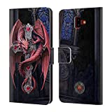 Head Case Designs Ufficiale Anne Stokes Gothic Guardians Dragoni Cover a Portafoglio in Pelle per Samsung Galaxy J6 Plus (2018)