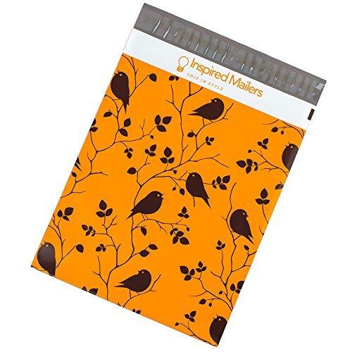 Inspired Mailers Bedruckte Kunststoff-Versandtaschen, in verschiedenen Designs erhältlich, 100 Stück 254 x 320 mm Birds in Trees (Check-snap-design)