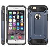 Coque ultrarésistante hybride militaire pour iPhone6 et 6S résistante aux chocs double couche plastique rigide et amortissement des chocs, Polycarbonate, bleu, iphone 6 clear case,