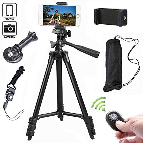 Kamera Stativ 102cm Aluminium Smartphone Stativ mit Handy Halterung und Bluetooth Fernbedienung Handy Stativ für iPhone Samsung und Kamera Ma-adapter