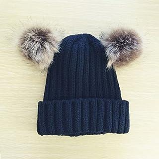 Kids Baby Girls Boys Cute Double Pompom Beanie Hat Crochet Cap Winter Warm Fashionable Knit Hat for Children (Navy Blue)